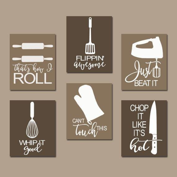 Kitchen Quote Wall Art, Funny Utensil Pictures, Canvas Or Prints Within Kitchen Canvas Wall Art (Image 16 of 20)