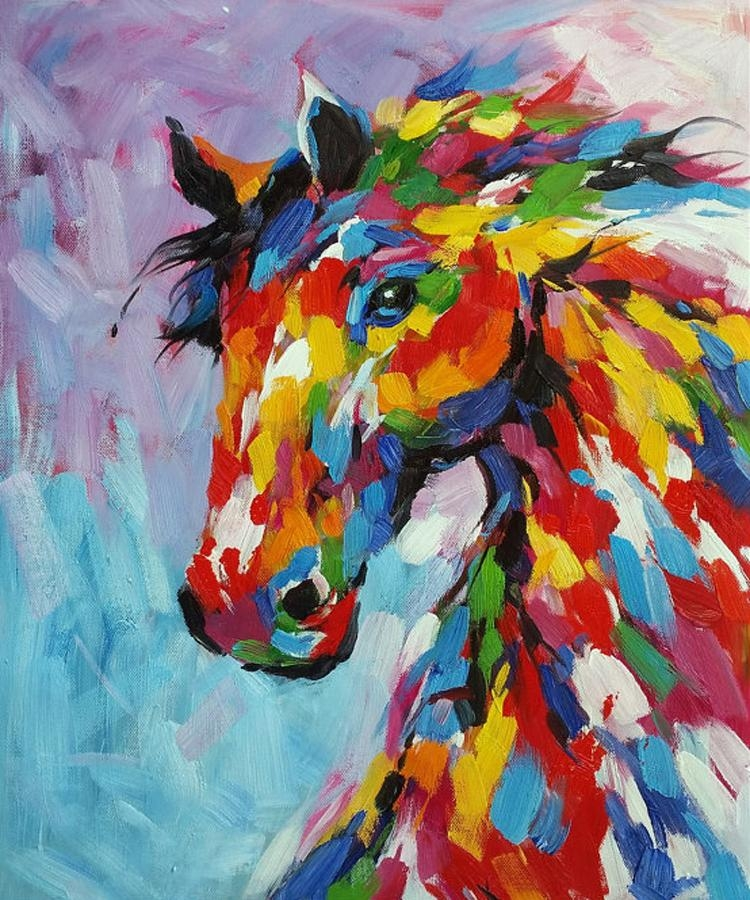 Knife Oil Painting Horse On Canvas Abstract Living Room Wall Art Pertaining To Abstract Horse Wall Art (Image 10 of 20)