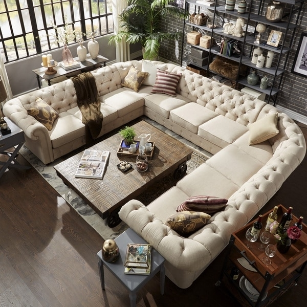 Knightsbridge Tufted Scroll Arm Chesterfield 11 Seat U Shaped In U Shaped Sectionals (Image 7 of 10)