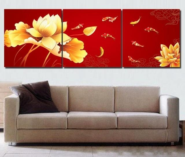 Koi Fish Wall Art Chinese Painting Red Wall Art Modern Office Wall For Red Canvas Wall Art (Image 9 of 20)