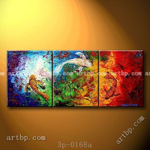 Koi In The Reflections Fish Oil Painting On Canvas Art Canvas Set For Koi Canvas Wall Art (View 20 of 20)
