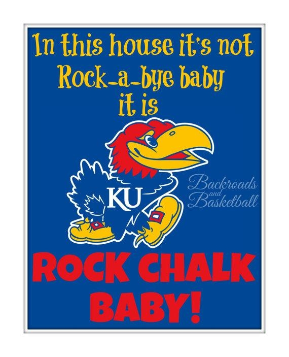 Ku Jayhawk Baby Print In This House Its Not Rock A Bye Baby Its With Ku Canvas Wall Art (Image 17 of 20)