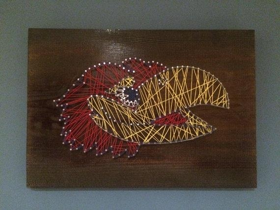 Ku Jayhawk Nail String Art | Men Cave, Kids Rooms And Cave With Regard To Ku Canvas Wall Art (Image 18 of 20)