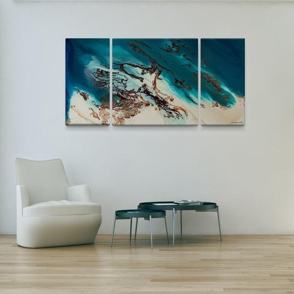 L Dawning Scott 'coastal Beauty' 30X60 Triptych Canvas Wall Art Regarding Joval Canvas Wall Art (Image 16 of 20)
