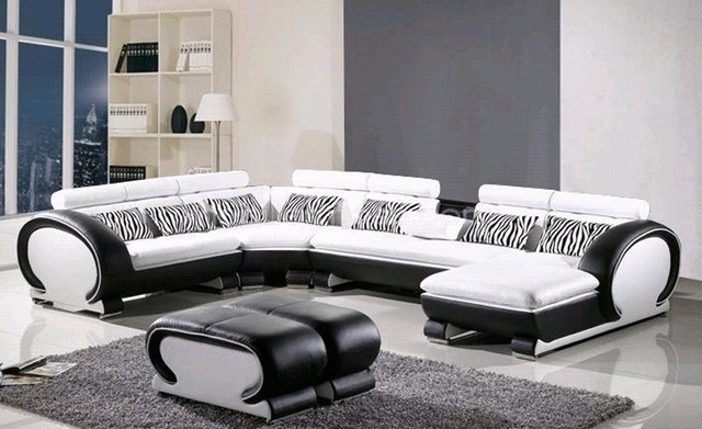L Shaped Sofa Genuine Leather Corner Sofa With Ottoman Chaise Lounge For L Shaped Sofas (Image 6 of 10)