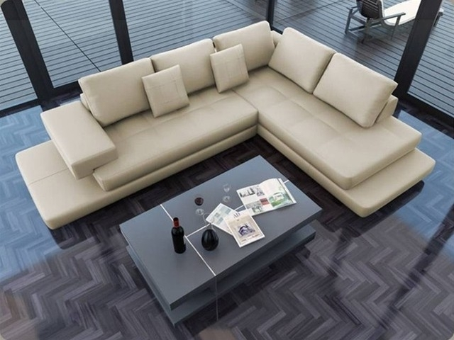 Lamont – Ultra Modern Cream Leather Sectional Sofa – Modern – Living For Los Angeles Sectional Sofas (Photo 1 of 10)