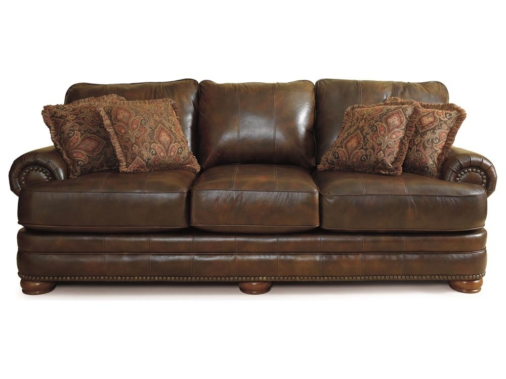 Lane Chocolate Leather Sofa With Nailhead Trim | Stanton Leather Pertaining To Lane Furniture Sofas (Image 6 of 10)
