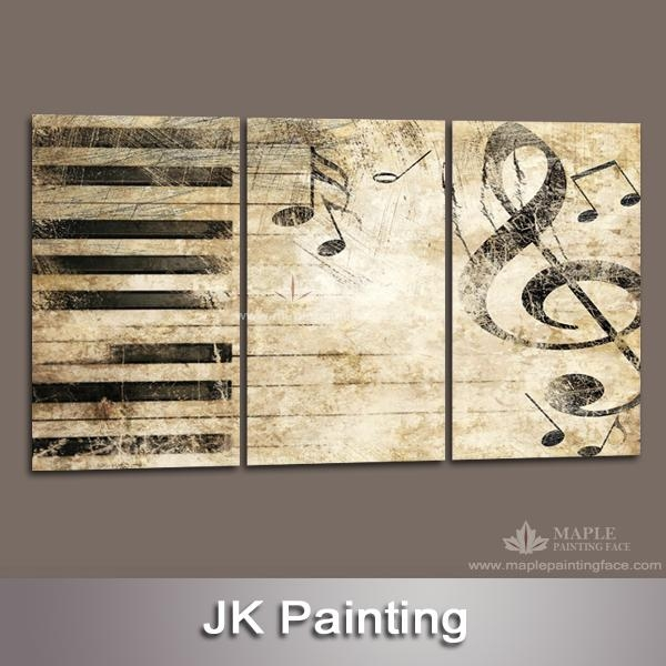 Large 3 Piece Canvas Art Decor Painting Of Music Melody Wall With Regard To Music Canvas Wall Art (View 3 of 20)