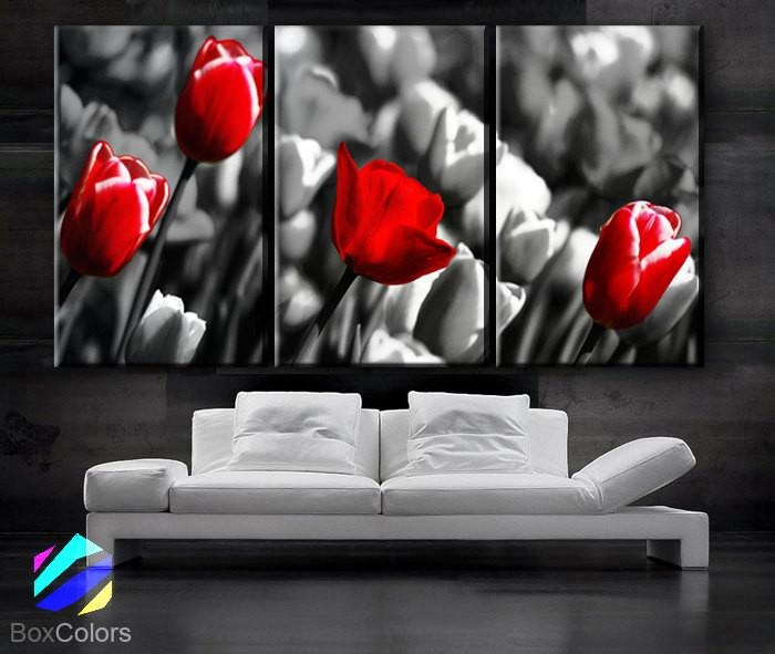 "Large 30""x 60"" 3 Panels Art Canvas Print Red Rose Background Black Intended For Black And White Photography Canvas Wall Art (View 6 of 20)"