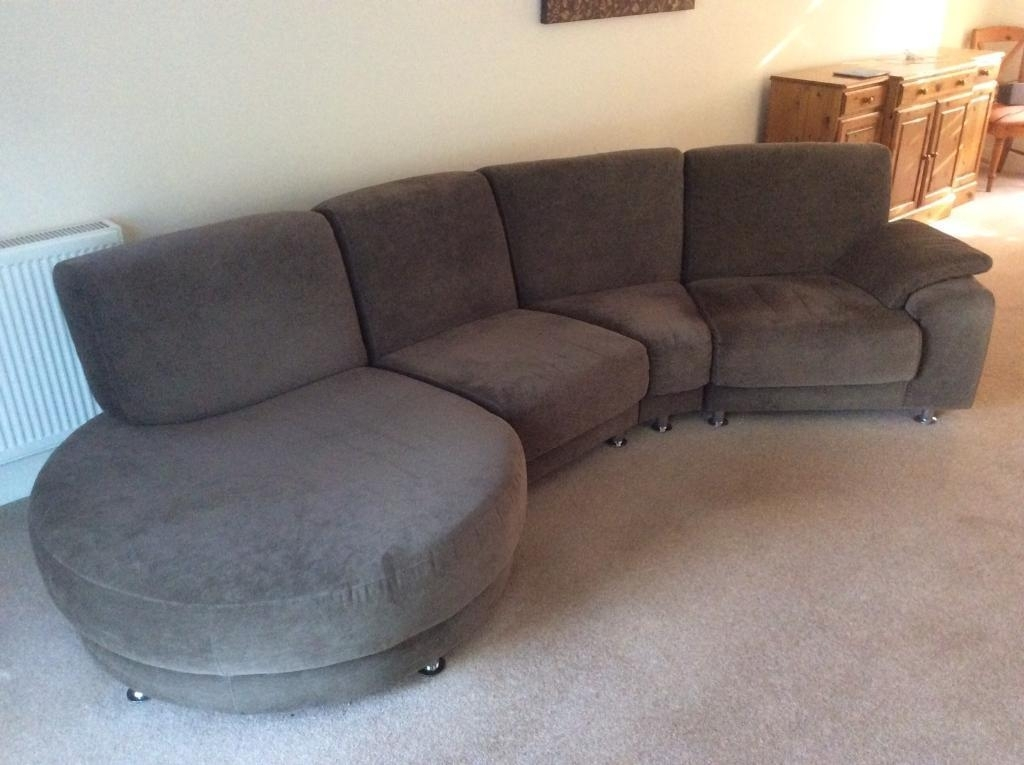 Large 4 Seater Fabric Sofa With Round Chaise End | In Poole, Dorset Inside Large 4 Seater Sofas (Image 7 of 10)
