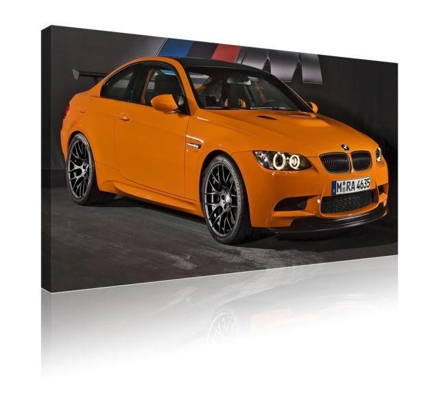 Large 78Cm X 52Cm Bmw M3 Gts Orange Canvas Wall Art Picture | Ebay In Bmw Canvas Wall Art (Image 13 of 20)