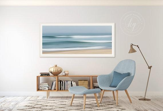 Large Abstract Beach Art Ocean Panorama Photo Print Nautical With Abstract Nautical Wall Art (Image 9 of 20)