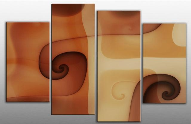 Large Abstract Brown Terracotta Beige Canvas Wall Art Picture Inside Orange Canvas Wall Art (View 9 of 20)