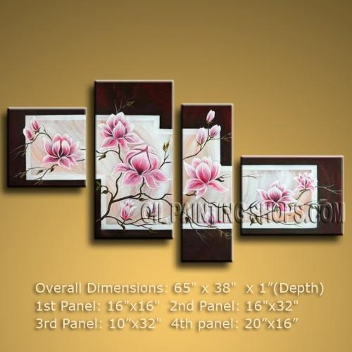 Large Abstract Floral Oil Painting Tulip Flower Contemporary Throughout Large Abstract Canvas Wall Art (View 18 of 20)