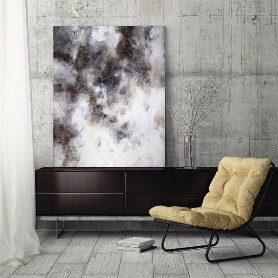 Large Abstract Painting Abstract Art Canvas Art Fine Art Print With Regard To Gray Abstract Wall Art (View 19 of 20)