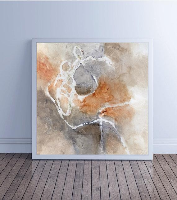 Large Abstract Painting, Canvas Art, Abstract Art, Canvas Giclee With Regard To Neutral Abstract Wall Art (Image 14 of 20)