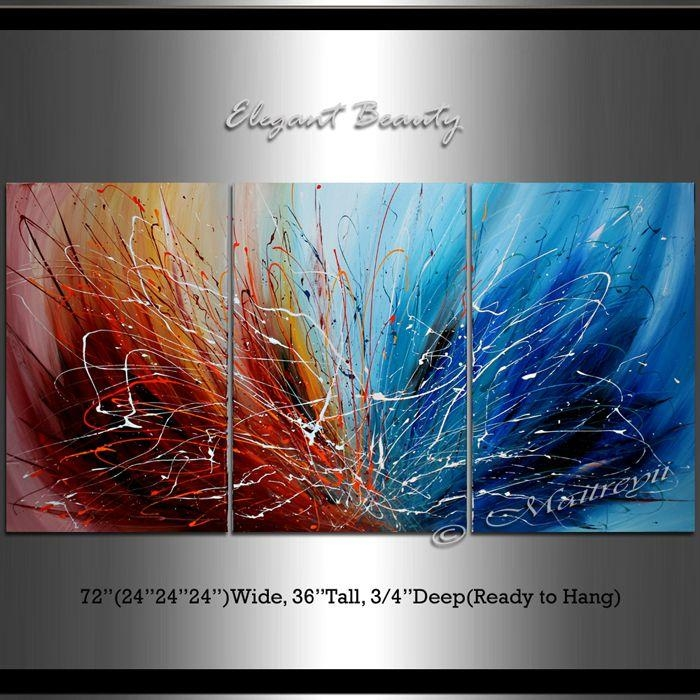 Large Abstract Painting, Wall Art, Red And Blue, Contemporary Art Within Oil Paintings Canvas Wall Art (Image 6 of 20)