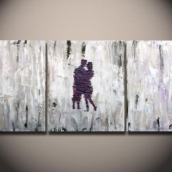 Large Abstract Paintings Heavy Textured, From Oritart On Etsy Intended For Purple And Grey Abstract Wall Art (View 8 of 20)