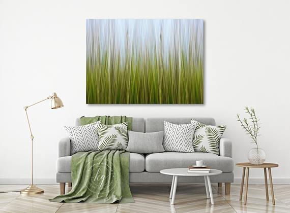 Large Abstract Wall Art Coastal Marsh Grass Photo Canvas Within Lime Green Abstract Wall Art (Image 10 of 20)
