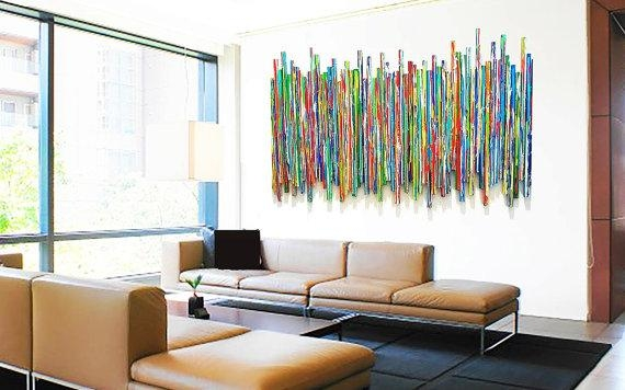 Large Abstract Wall Sculpture Original Contemporary Wall Art Regarding Abstract Wall Art For Living Room (Image 14 of 20)