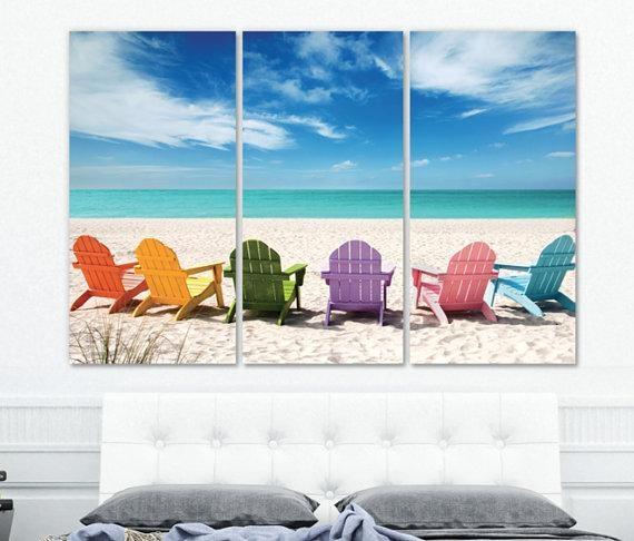 Large Beach Wall Art On Canvas Beach Mural Ocean Beach In Ocean Canvas Wall Art (View 12 of 20)