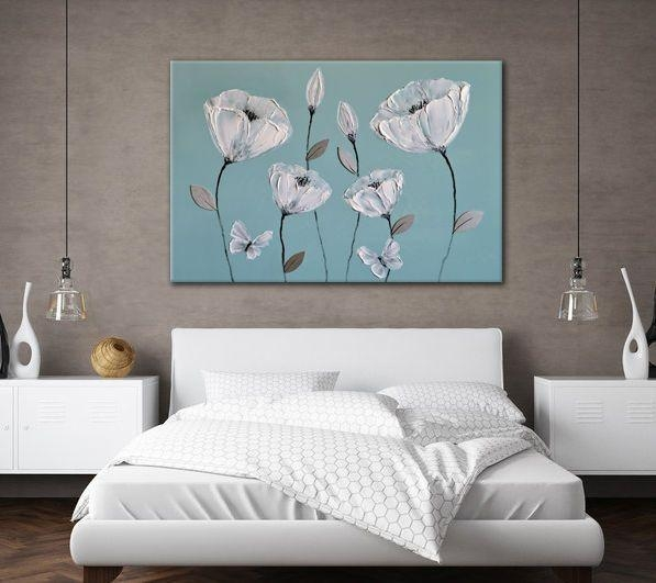 Large Beautiful Canvas Art Blue Grey White Flowers Zen Picture Throughout Duck Egg Blue Canvas Wall Art (Image 12 of 20)