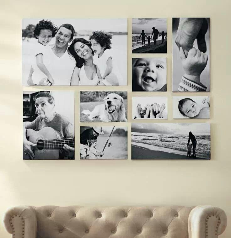 Large Black And White Layout With Family Portraits | On A Canvas For Portrait Canvas Wall Art (Image 11 of 20)