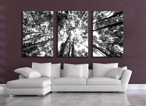 Large Black And White Three Canvas Wall Grouping 80 Inch Aspen Intended For Black And White Canvas Wall Art (Photo 1 of 20)