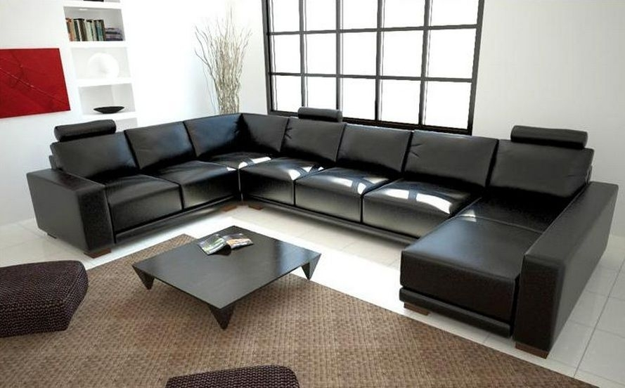 Large Black Bonded Modern Sectional Sofa Vermont – $2, (Image 5 of 10)