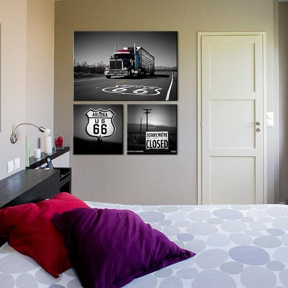 Large Canvas Art Route 66 Sign Truck, Black And White Photography In Arizona Canvas Wall Art (Image 16 of 20)