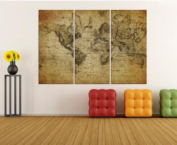 Large Canvas Art Rustic World Map Wall Print, World Map Wall Art For Rustic Canvas Wall Art (Image 13 of 20)