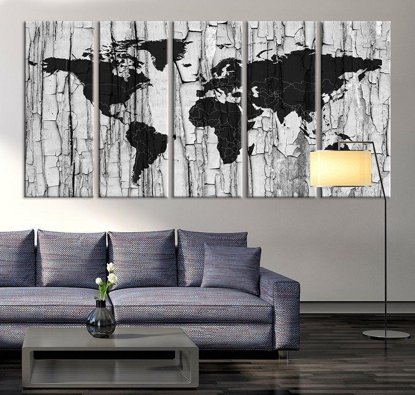 Large Canvas Print – Black And White World Map Wall Art, Grayscale Pertaining To Maps Canvas Wall Art (Image 12 of 20)