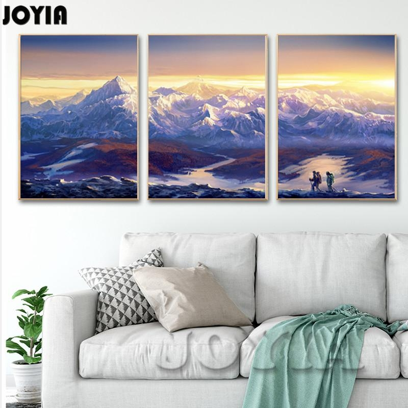 Large Canvas Prints Wall Art 3 Piece Scenery Pictures Continuous Intended For Mountains Canvas Wall Art (Image 14 of 20)