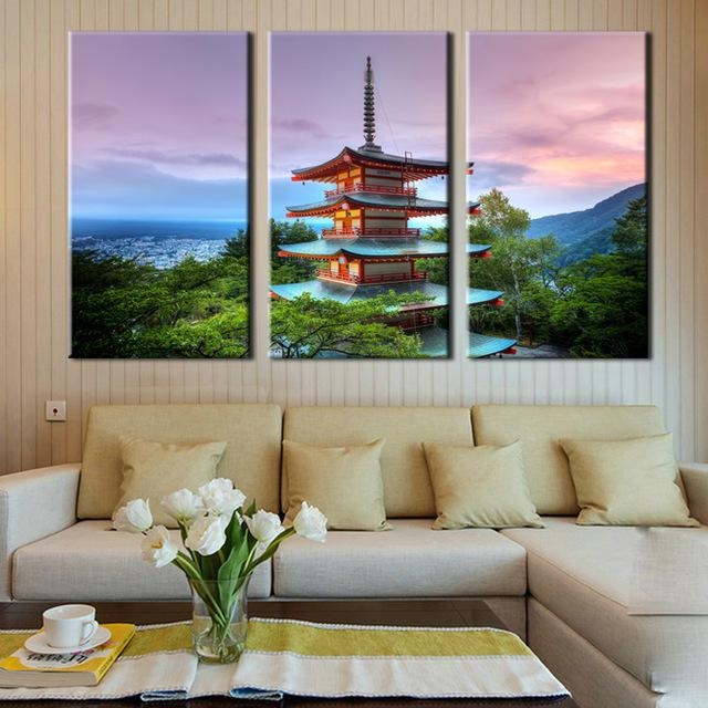 Large Canvas Wall Art 3 Panel Modern Painting And Prints Fuji With Regard To Japanese Canvas Wall Art (Image 13 of 20)