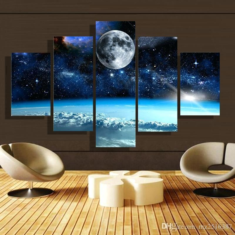 Large Canvas Wall Art 5 Panel Forest Painting Canvas Wall Art Throughout Ireland Canvas Wall Art (View 10 of 20)