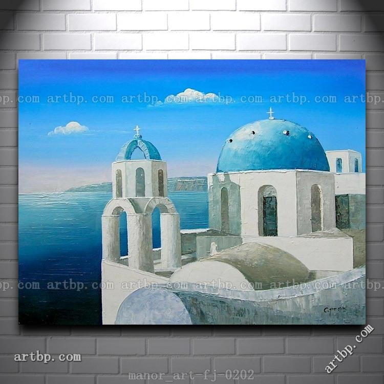 Large Canvas Wall Art Hand Painted Oil Painting Modern Decor Pertaining To Greece Canvas Wall Art (Image 16 of 20)