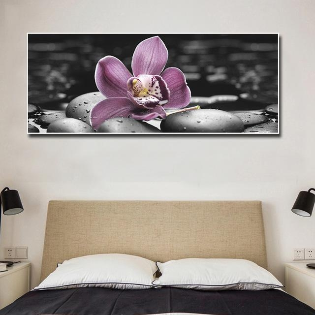 Large Canvas Wall Art Painting Orchid And Black Stone Prints Regarding Bedroom Canvas Wall Art (Image 14 of 20)