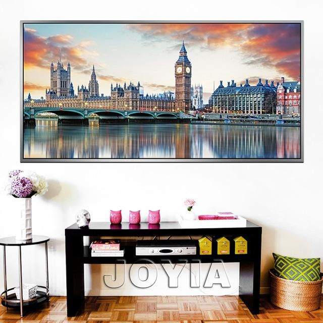 Large City Canvas Prints Wall Art London Architecture Reflection Regarding Canvas Wall Art Of London (Image 10 of 20)