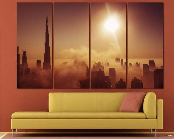 Large Dubai Burj Khalifa Canvas Print Dubai Skyline Set Of 3 Intended For Dubai Canvas Wall Art (Image 13 of 20)