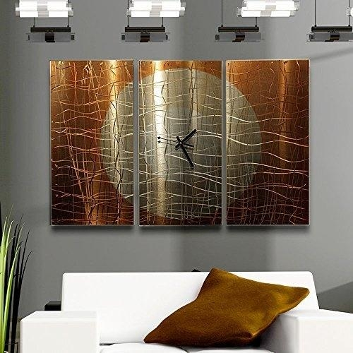 Large Gold Abstract Metal Wall Clock – Handcrafted Functional Art In Abstract Metal Wall Art With Clock (Image 11 of 20)