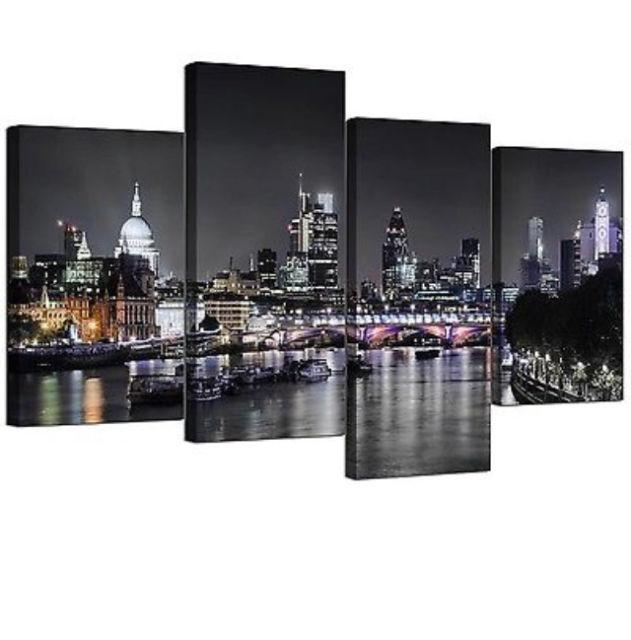 Large London City Scene Canvas Wall Art Picture Multi 4 Panel Intended For London Canvas Wall Art (Image 11 of 20)