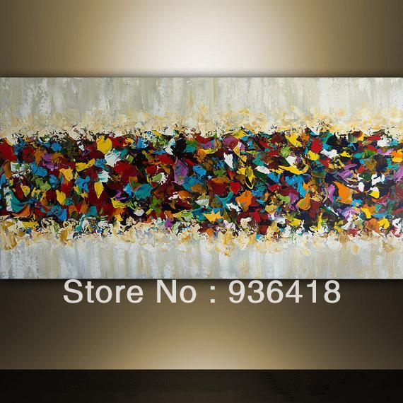 Large Multi Color Abstract Painting Palette Knife Modern Landscape In Abstract Art Wall Hangings (Image 9 of 20)