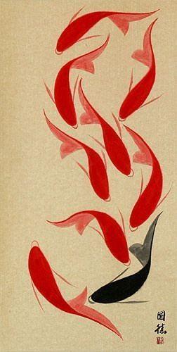 Large Nine Abstract Asian Koi Fish Wall Scroll – Asian Koi Fish Pertaining To Abstract Fish Wall Art (View 13 of 20)