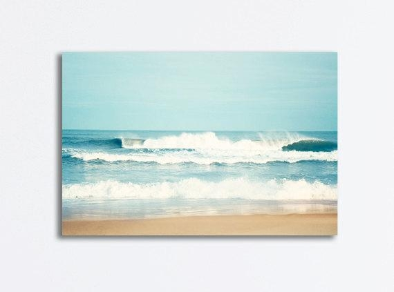 Large Ocean Canvas Seascape Wall Art Sea Blue Waves Beach Pertaining To Beach Canvas Wall Art (View 7 of 20)