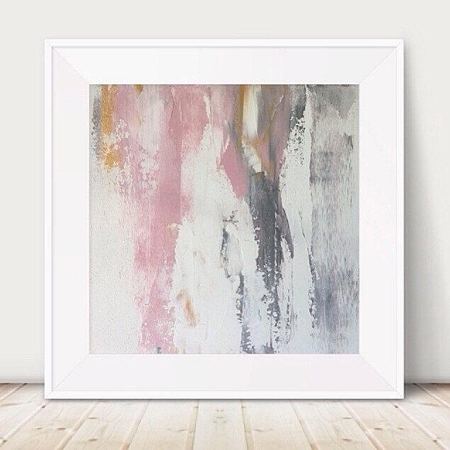 Large Pink And Grey Painting Pink White Painting Metallic Abstract For Pink Abstract Wall Art (Image 14 of 20)
