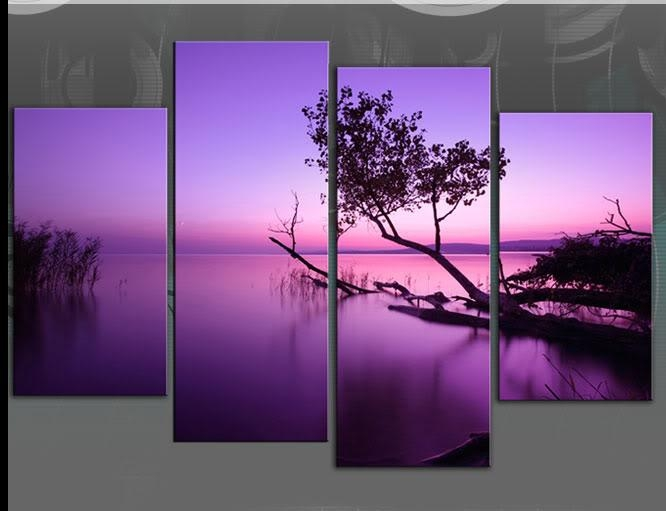 Large Purple Toned Lake Scenic Canvas Wall Art Picture 60 Inch 4 Panel With Lilac Canvas Wall Art (View 10 of 20)