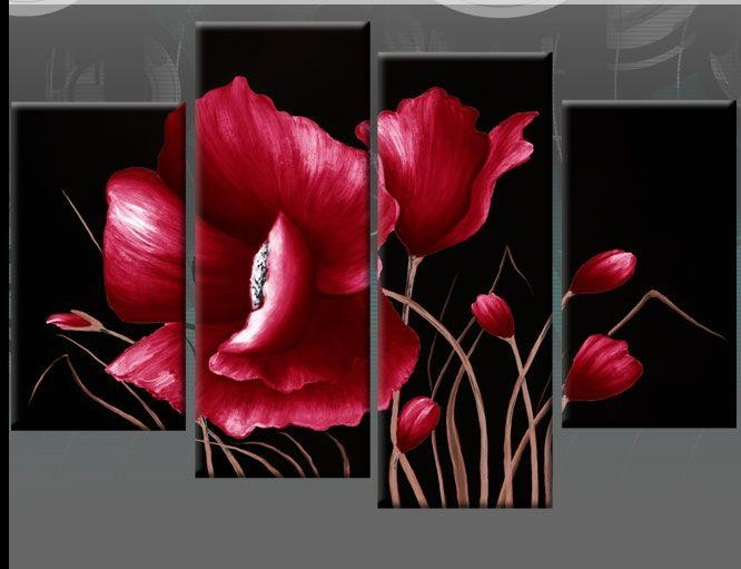 Large Red And Black Floral Flower Canvas Picture Wall Art Split With Red Flowers Canvas Wall Art (Image 11 of 20)