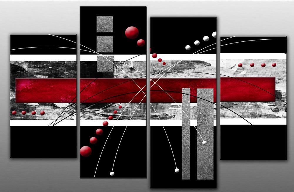 Large Red Black Grey Abstract Canvas Picture Wall Art Split Multi With Regard To Grey Abstract Canvas Wall Art (Image 10 of 20)