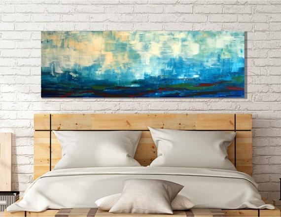 Large Scale Landscape Painting, Wall Art, Horizontal Art Wall With Horizontal Abstract Wall Art (Image 9 of 20)