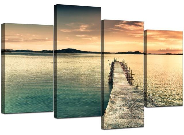 Large Sunset Canvas Wall Art Pictures Blue Prints Set Pier Jetty Within Jetty Canvas Wall Art (View 18 of 20)